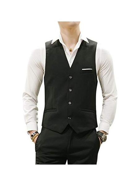 Product# MO675 Mens Matching Waistcoat Causal Suit Vests & Pants Set  Package Black