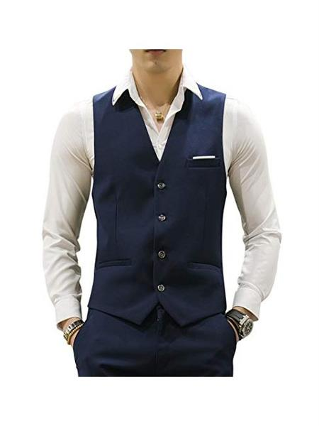 Product# MO679 Mens Matching Waistcoat Causal Suit Vests & Pants Set  Package Navy