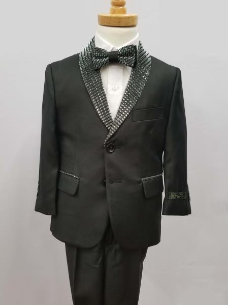 Product# JA352 Mens Single Breaste Shawl Lapel Boys And Men Suit Black