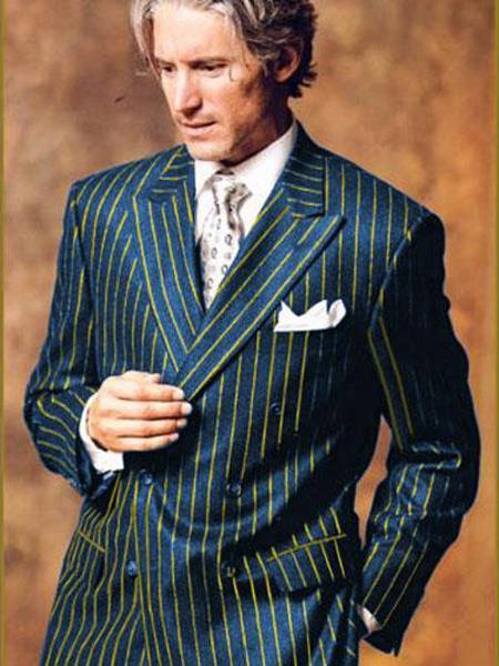 Product# MO691 Navy Blue and Gold Chalk Pinstripe ~ Stripe Double Breasted Suit Bold Wool Suit