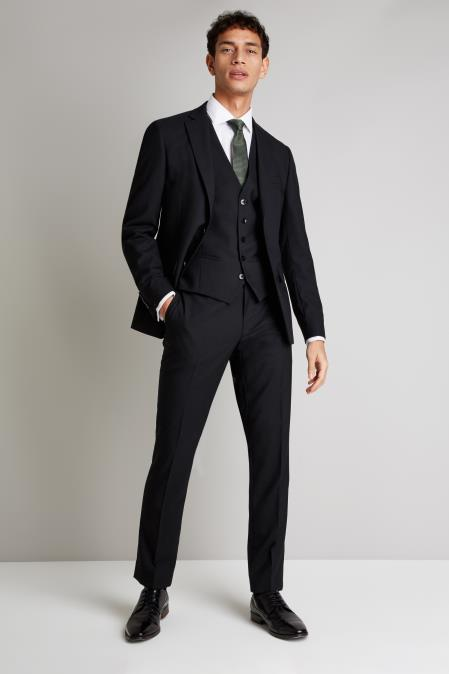 Product# JA368 Mens Notch Lapel Single Breasted Fully Lined Jacket Black