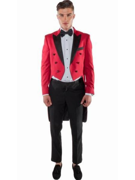 Red TailCoat Tuxedo ~ Suit For sale ~ Pachuco men's Suit Perfect for Wedding With Black Lapel
