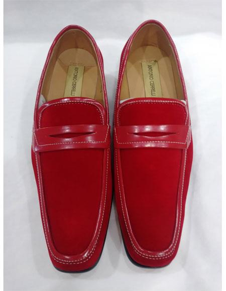 Product# EK131 Men's Leather Lining Red Slip On Cushioned Insole Shoes