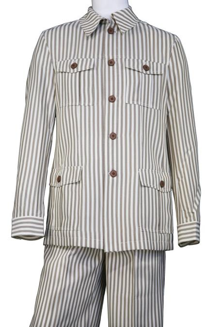 Mens Victorian Stripe Button