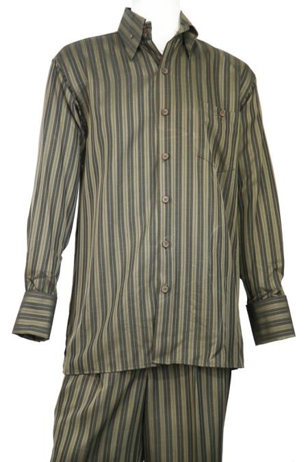 Mens Dual Stripe Button