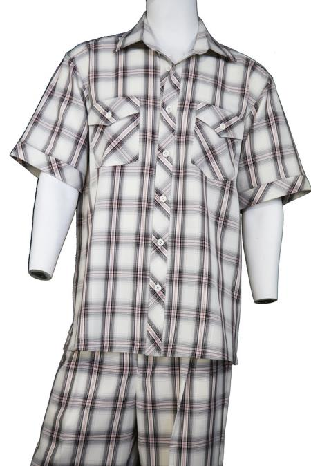 Mens Crosshatch Checkered Button