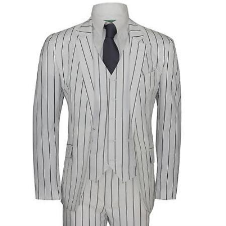 Product# JA403 Mens White and Black Bold Chalk Pinstripe ~  Stripe 2 Buttons Vested 1920s Vintage Suit ( Jacket and Pants)  For Men