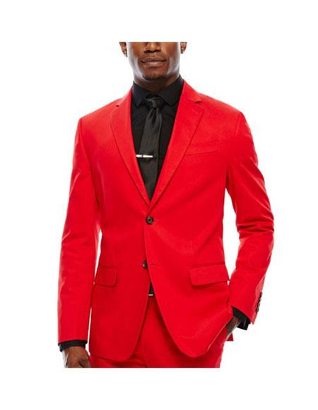 Product# EK142 WTX-Velvet2BV Alberto Nardoni Mens Red Velvet Suit Jacket & Pants (Matching )