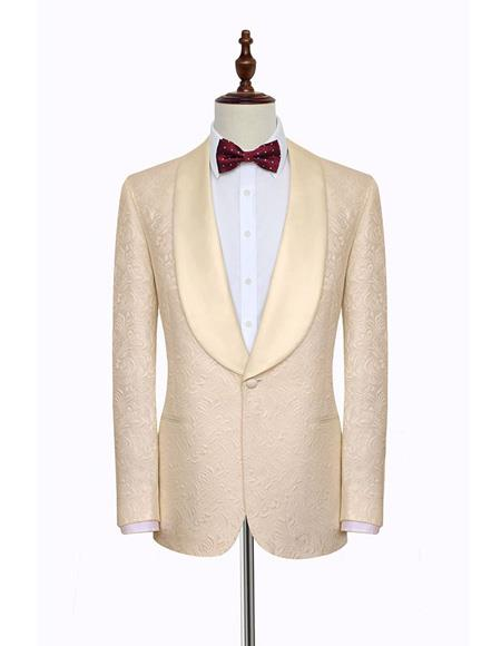 Men's Single Breasted Shawl Lapel Fabric One Button Cream Suit