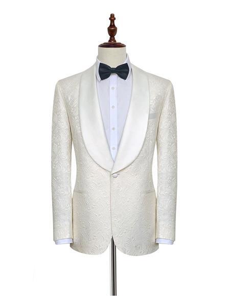 Product# EK150 Men's Double Vents One Button Shawl Lapel White Single Breasted Suit