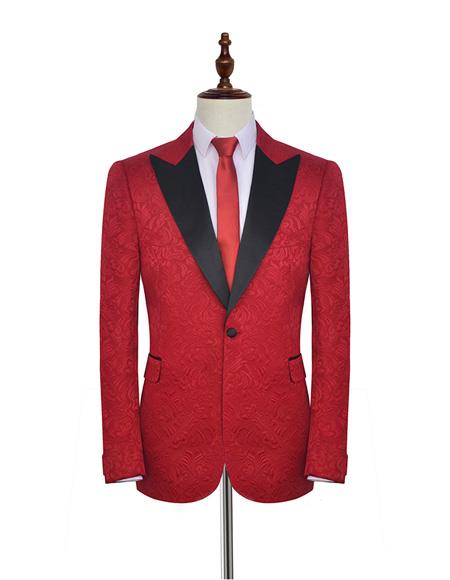 Product# EK153 Men's Notch Lapel Double Vents Single Breasted Fabric Bright Red Suit For Men Perfect For Prom