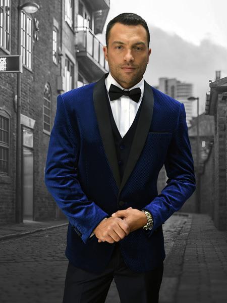 Product# WTX-Velvet2BV Alberto Nardoni Mens Velvet Suit Jacket & Pants (Matching ) Navy