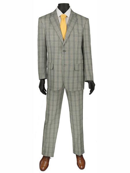Product# MO770 2 Buttons Plaid ~ Window pane Suit Blazer Jacket Pants Grey