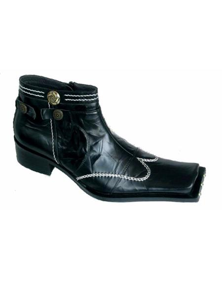 Mens Black Leather Cushioned