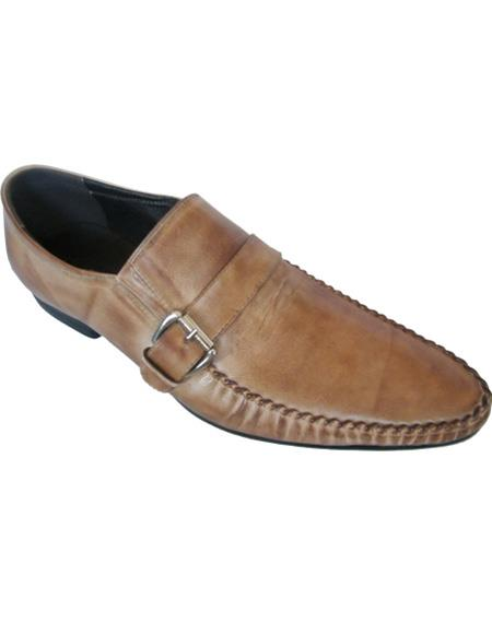 Mens Leather Taupe Slip