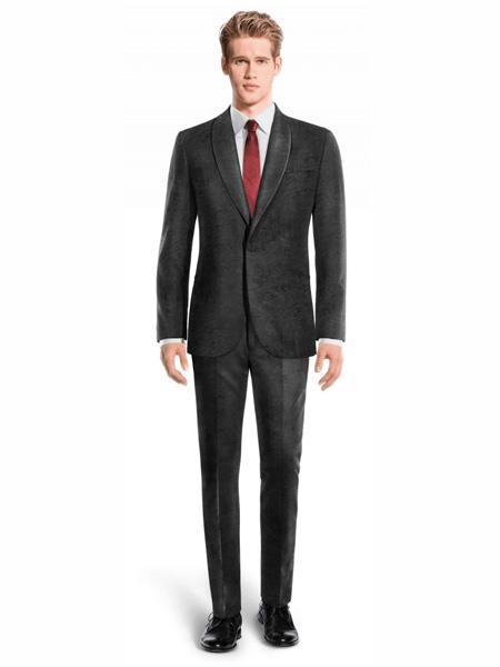 Product# JA472 Mens Single Breasted Shawl Lapel Velvet Suit Black