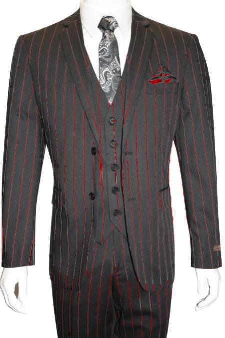 Male Black and Red Pinstripe Chalk Custom Looking Pimp Mobster 1930 Two buttons Vested 3 Pieces