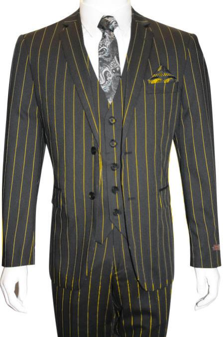 Yellow Pinstripe Chalk Custom Looking Pimp Mobster 1930 Two buttons Vested 3 Pieces
