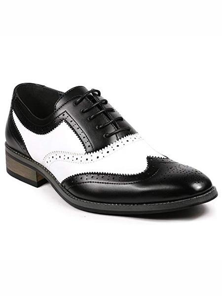 Product# MO796 Men's Two Tone Wing Tip Lace up Oxford Black / White Dress Shoes