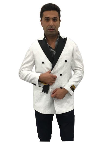Product# EK220 Men's White Double Breasted Peak Lapel One Chest Pocket Suit
