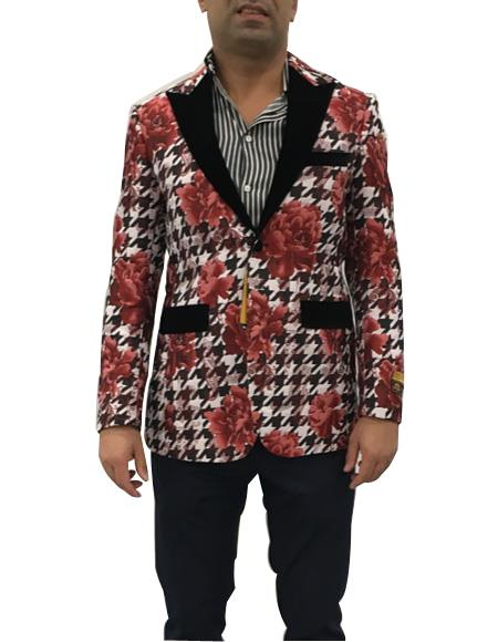 Men's Single Breasted Peak Lapel Flap Front Pockets Red Floral Pattern Suit