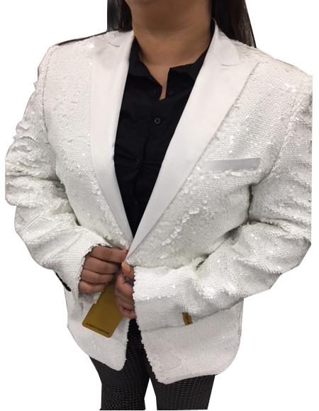 Men's Peak Lapel White Single Breasted One Chest Pocket Suit
