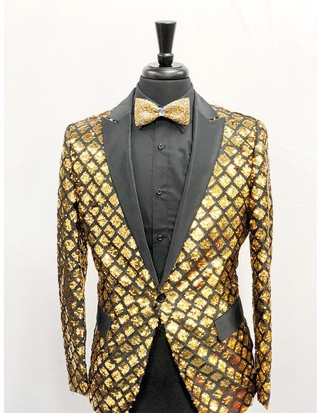 Product# EK233 Men's Single Breasted Peak Lapel Slim Fit Gold ~ Black Blazer ~ Suit Jacket