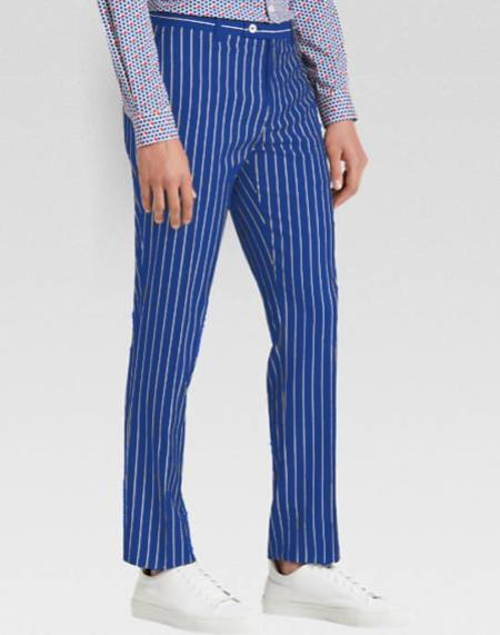 Product# MO801 Men's slacks Royal Blue Ganagster Chalk Striped ~ Pinstripe 1920's Style Flat Front or  Pleated Pants Available In Big And Tall