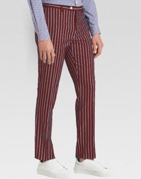 Product# MO802 Men's slacks Burgundy Ganagster Chalk Striped ~ Pinstripe 1920's Style Flat Front or  Pleated Pants Available In Big And Tall