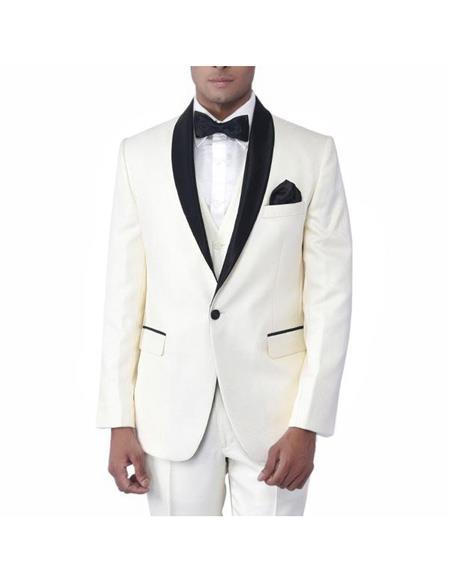 Product# EK245 Men's Cream Single Breasted One Button Tuxedo Shawl Lapel