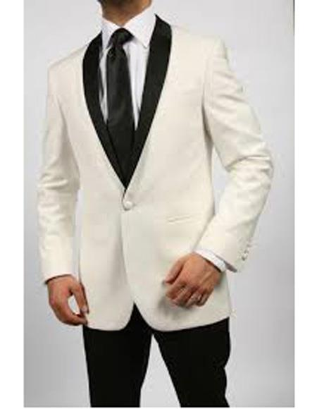 Product# EK246 Men's One Button Shawl Lapel Single Breasted Ivory ~ Cream Tuxedo