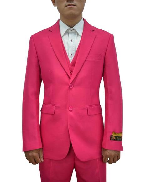 Product# FESTIVE Alberto Nardoni Mens Vested 3 Piece Suit Fushcia