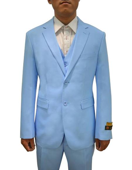 Alberto Nardoni men's Vested 3 Piece Suit Sky Blue