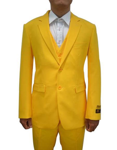 FESTIVE Alberto Nardoni Mens Vested 3 Piece Suit Yellow