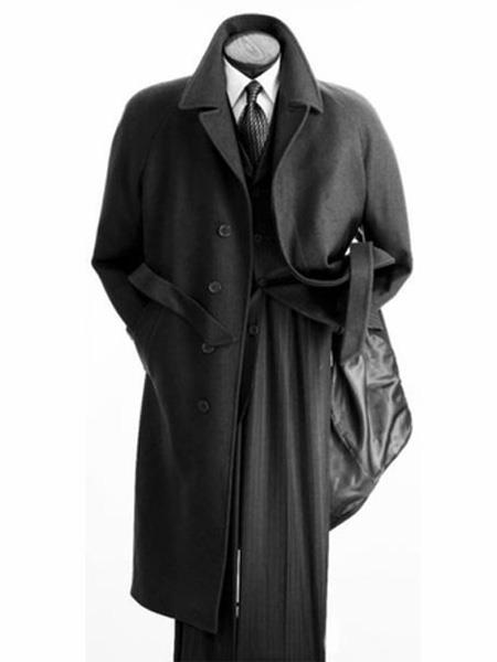 Product# MO810 Alberto Nardoni Mens Belted Wool Overcoat Top coats full length winter coats Black