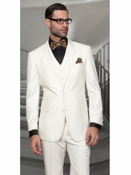 Notch Lapel Two Buttons Side Vented Vested No Pleated Pants 100% Wool Discounted Sale Fit 3 Piece Suit Off White Suit ( Jacket and Pants)  For Men Separate Any Size Jacket & Pants