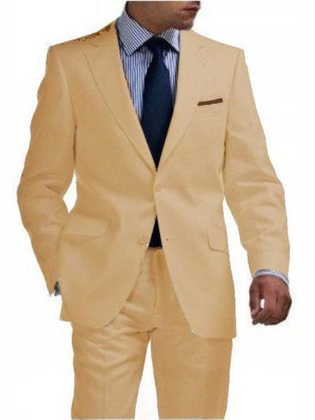 men's & Boys Sizes Light Weight 2 Button Tapered Cut Half Lined Flat Front Linen Khaki Suit Vented Sand men's Suit Separate Any Size Jacket & Pants