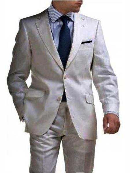 men's & Boys Sizes Light Weight 2 Button Tapered Cut Half Lined Flat Front Linen Suit Vented Silver men's Suit Separate Any Size Jacket & Pants