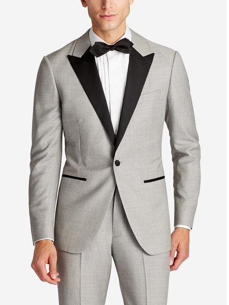 men's Single Breasted Slim Fit Peak Lapel Wool Grey 1920s Tuxedo Style Suit Jacket