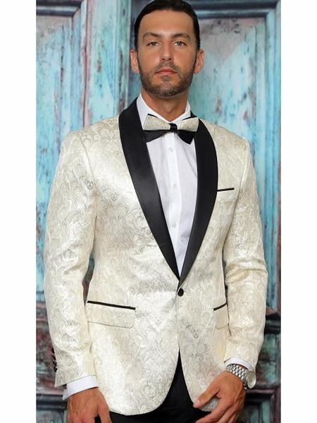 Product# MO835 Mens One Button Floral Designed Shawl Lapel Off WhiteTuxedo Dinner Jacket