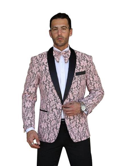Product# SR25 Mens Single Breasted Shawl Lapel Floral Pattern Paisley Sport Coat Blazer Dinner Jacket Whi