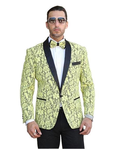 Product# SR28 Mens Single Breasted Shawl Lapel Floral Pattern Paisley Sport Coat Blazer Dinner Jacket Tux