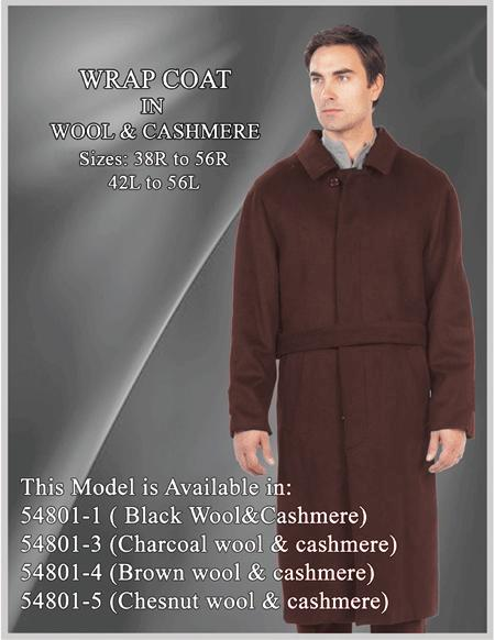 Product# EK253 Men's Alberto Nardoni Brand Belted Full Length Overcoat ~ Topcoat 45 Inches Wool Brown Button Closure Single Breasted Coat