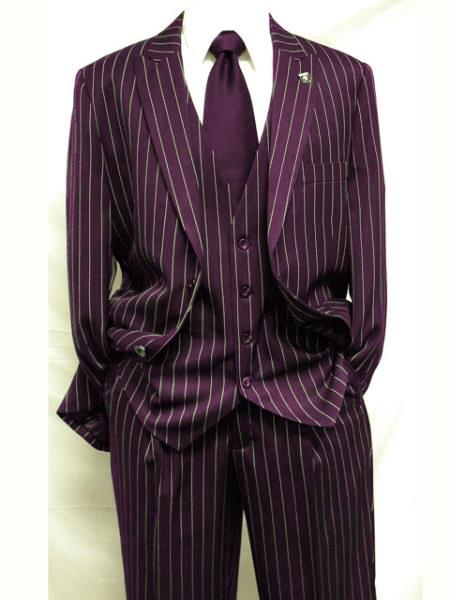 MO838 Mens Maroon ~ White Gangster Bold PinStripe