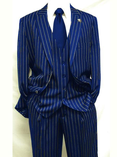 MO842 Mens Navy Blue ~ White Gangster Bold PinStripe