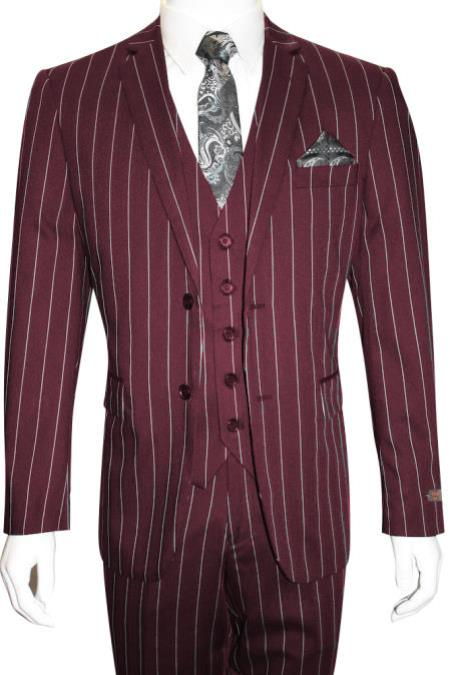 MO844 Mens Bold Gangster 1920s Vintage Maroon ~ White Gangster