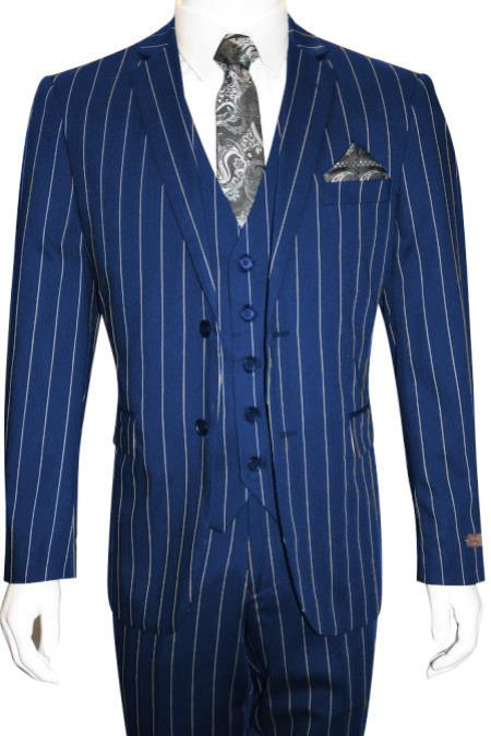 Product# MO846 Men's Bold Gangster 1920s Vintage Royal Blue Suit For Men Perfect ~ White Gangster Bold Stripe 2 Button Vested Suit