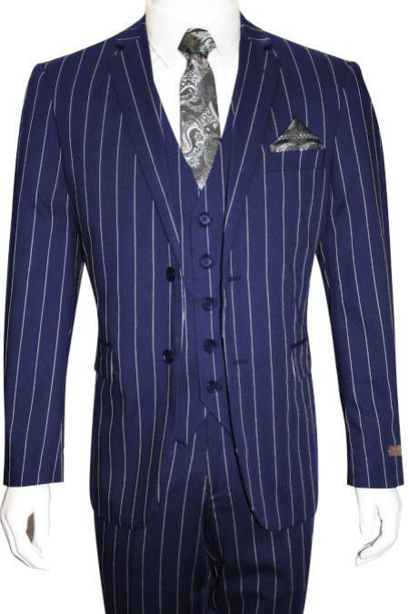 MO847 Mens Bold Gangster 1920s Vintage Dark Navy Blue ~ White