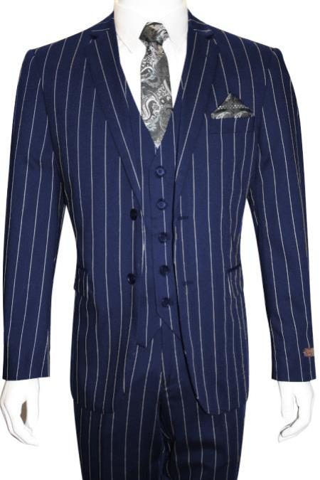 MO848 Mens Bold Gangster 1920s Vintage Navy Blue ~ White
