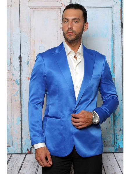 men's Shiny Flashy Satin Solid Blazer ~ Sport Coat  Royal Blue Available in 2 buttons Notch Lapel